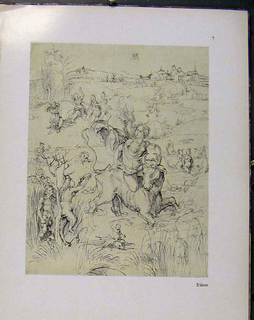 Print German Drawings Lady Riding Horse Over Field People 108941 Old Original