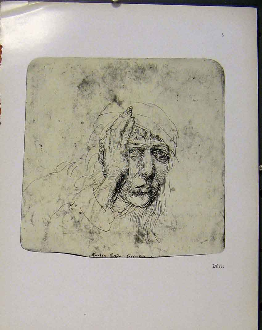 Print German Drawings Durer Sketch Lady Bandaged Head 148941 Old Original