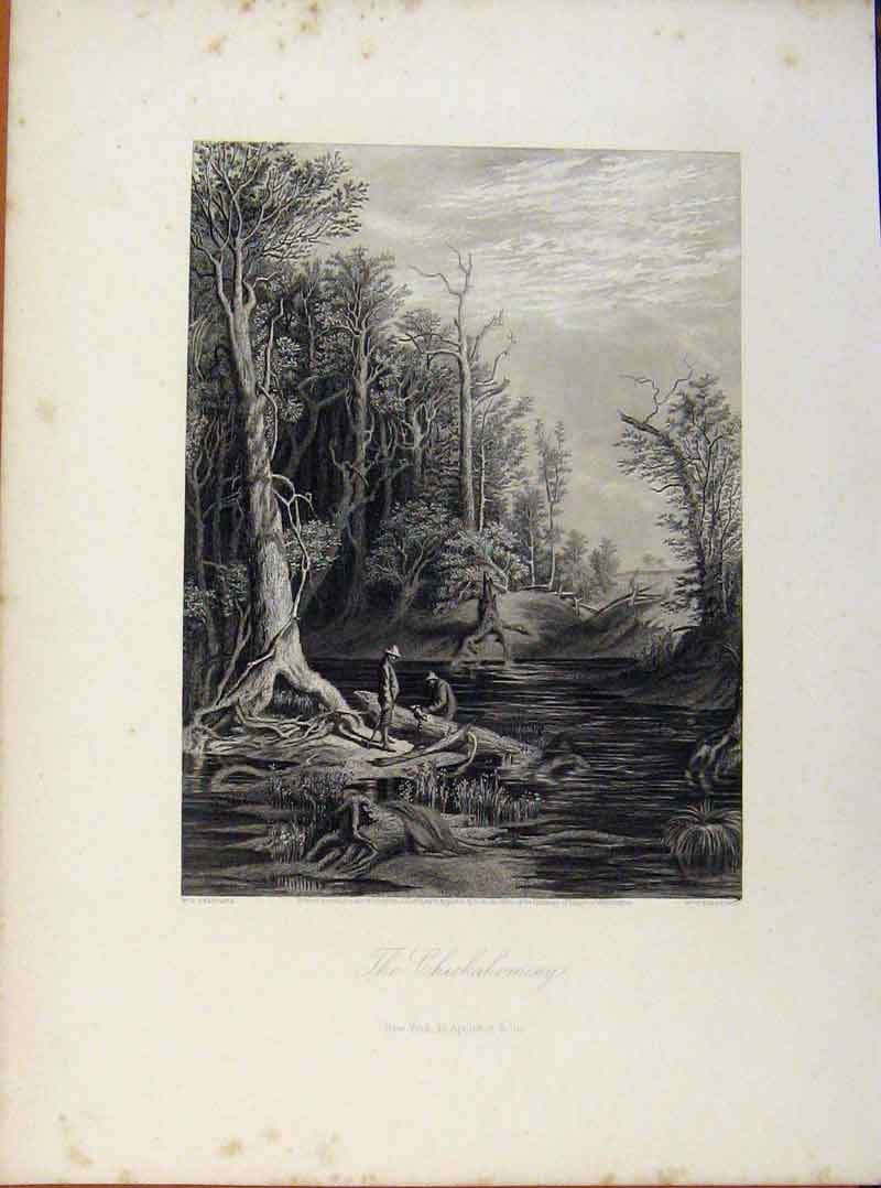 Print Picturesque America Chickahominy Steel Engraving C1883 048961 Old Original