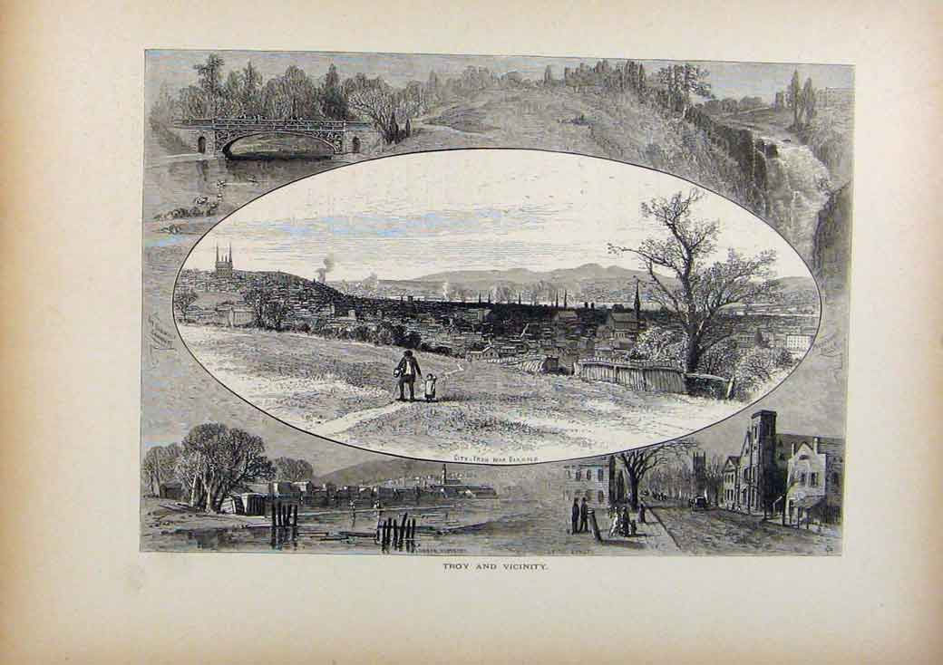 Print Picturesque America Troy And Vicinity Wood Engraving 458961 Old Original