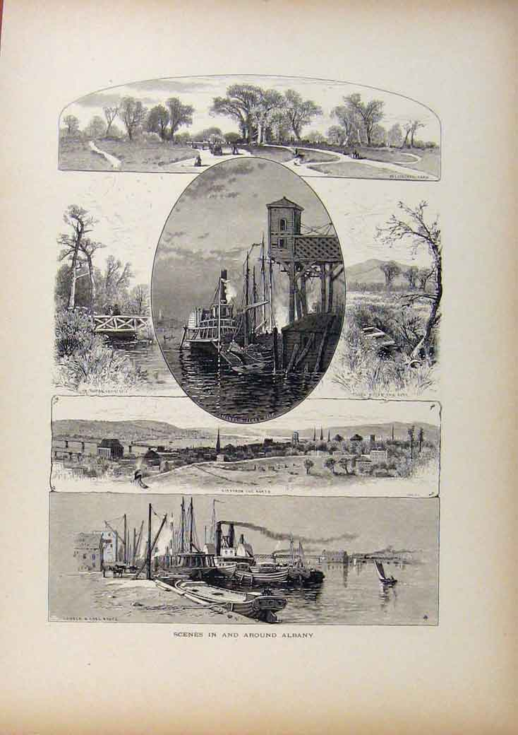 Print Picturesque America Scenes In And Around Albany C1883 468961 Old Original