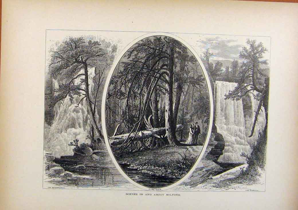 Print Picturesque America Scenes In And About Milford 478961 Old Original