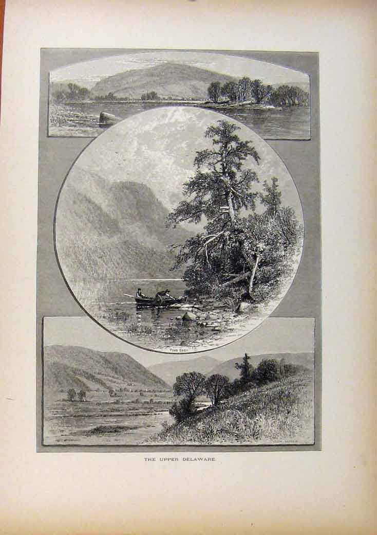 Print Picturesque America Upper Delaware Wood Engraving 488961 Old Original