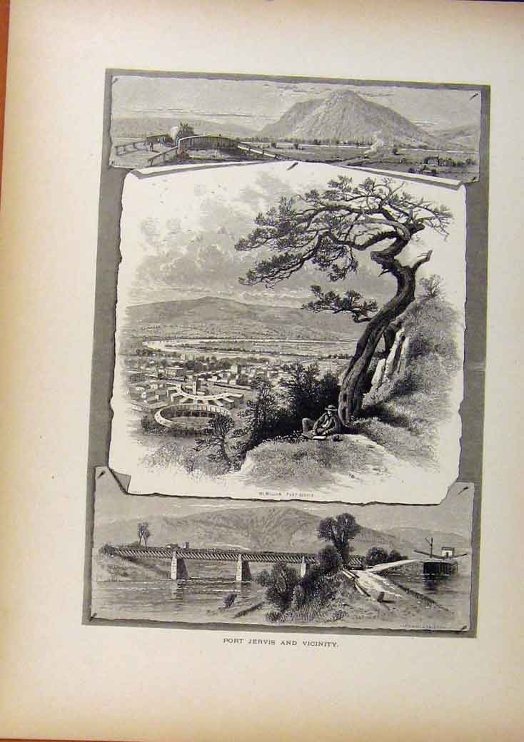 Print Picturesque America Port Jervis Vicinity Wood Engraving 498961 Old Original