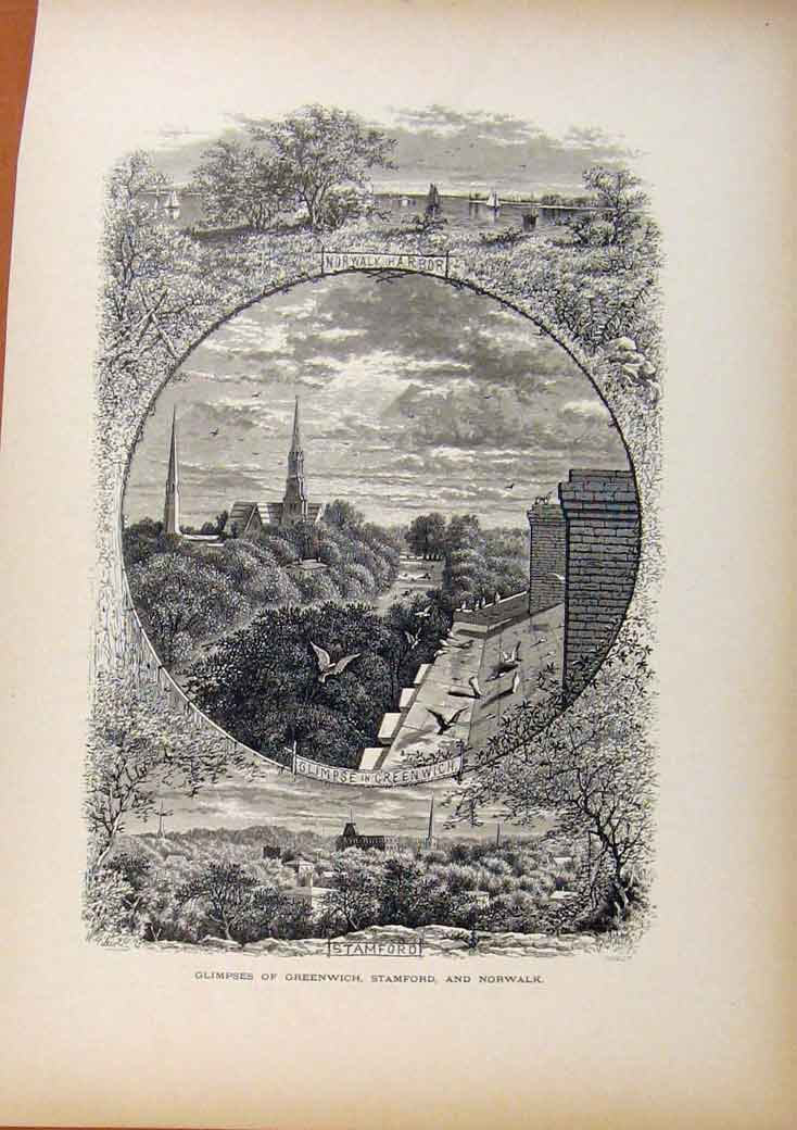 Print Picturesque America Glimpses Greenwich Stamford Norwalk 518961 Old Original