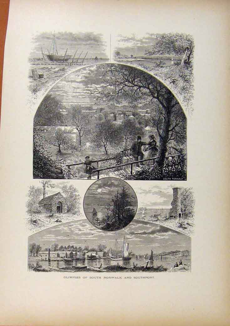 [Print Picturesque America Glimpses South Norwalk Southport 528961 Old Original]
