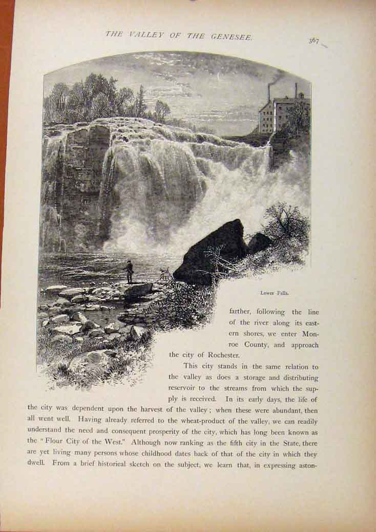Print Picturesque America Lower Falls Genesee Wood Engraving 578961 Old Original
