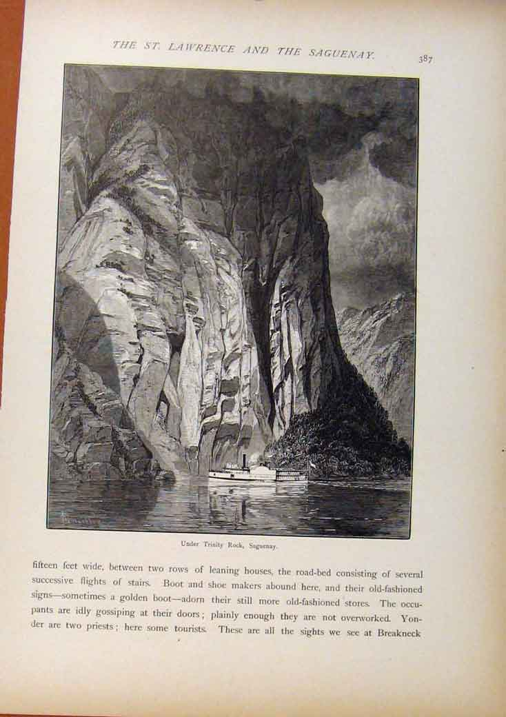 Print Picturesque America Under Trintiy Rock Saguenay C1883 598961 Old Original