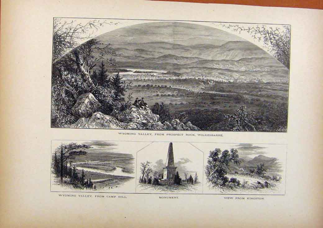 Print Picturesque America Wyoming Valley Monumnet Kingston 648961 Old Original
