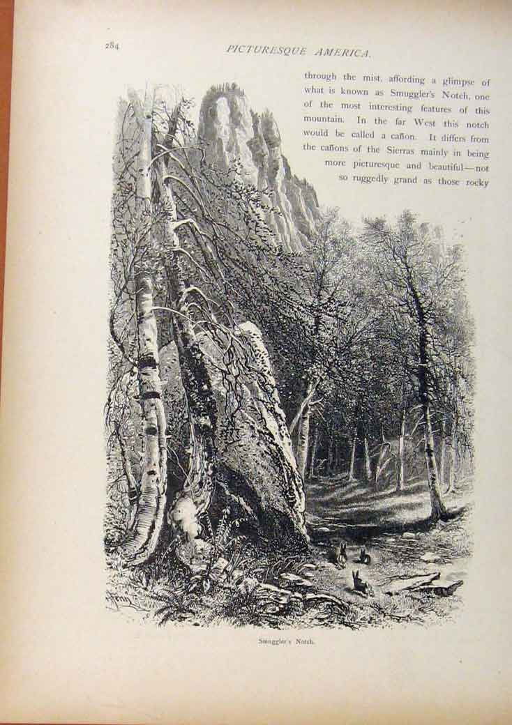 Print Picturesque America Smugglers Notch Wood Engraving 678961 Old Original