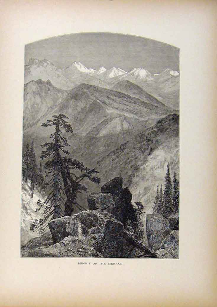 Print Picturesque America Summit Sierras Wood Engraving 708961 Old Original