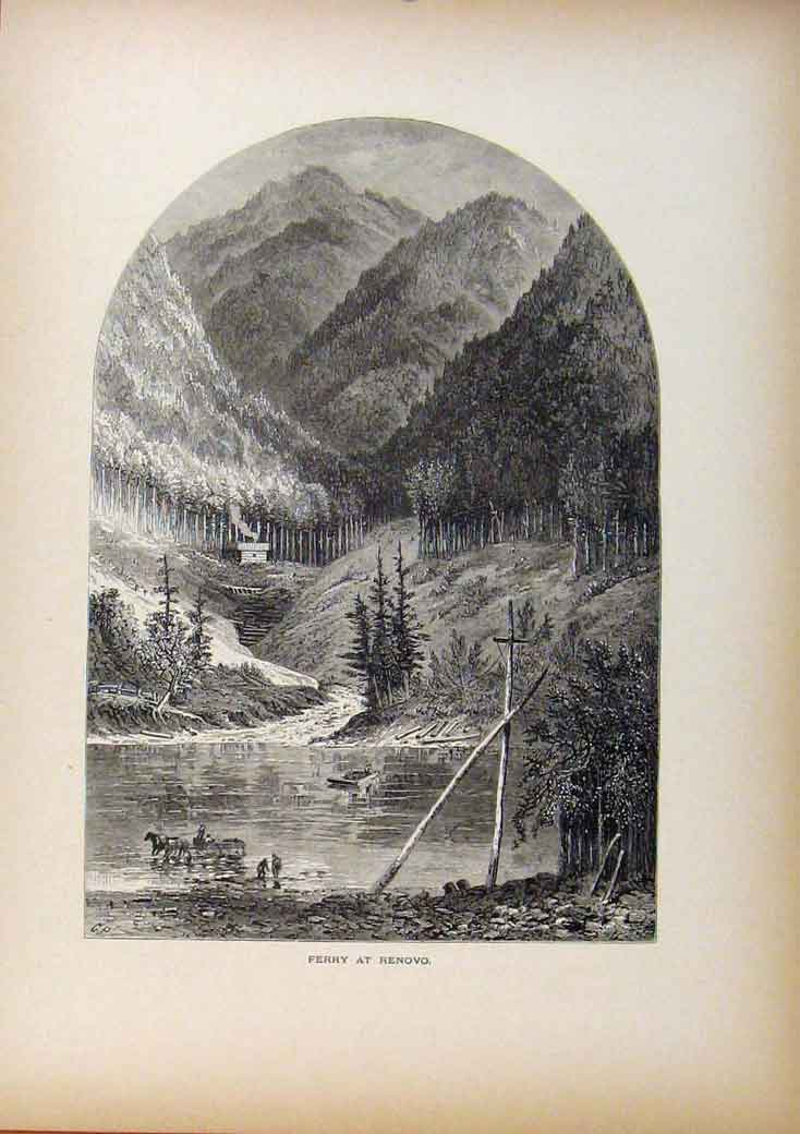 Print Picturesque America Ferry At Renovo Wood Engraving 748961 Old Original