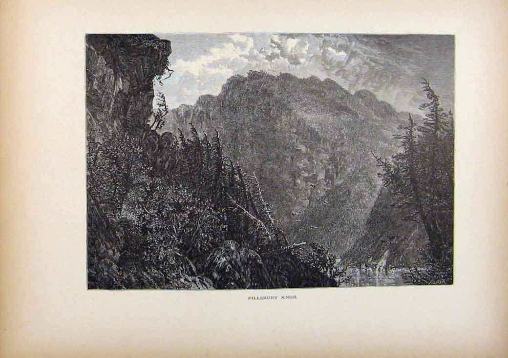Print Picturesque America Pilsbury Knob Wood Engraving 768961 Old Original