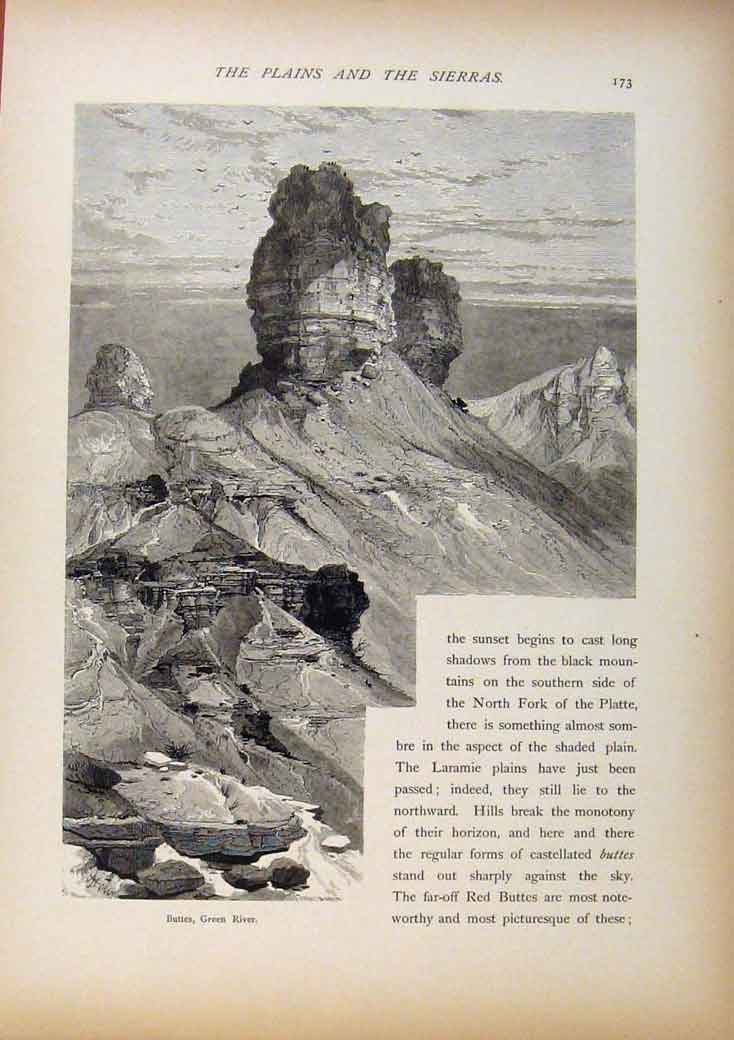 Print Picturesque America Buttes Green River Wood Engraving 788961 Old Original