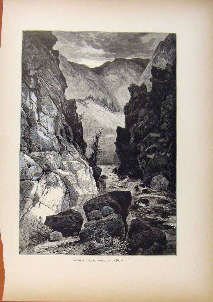 Print Picturesque America Devils Gate Webber Canon 1883 828961 Old Original