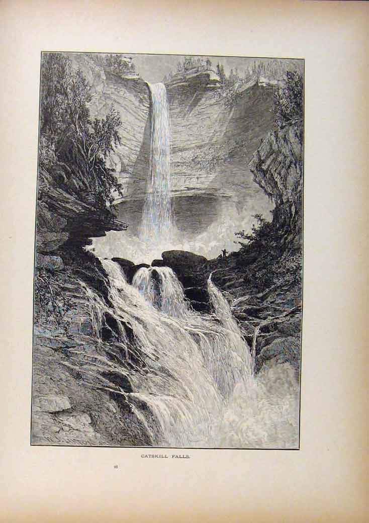 Print Picturesque America Catskill Falls Wood Engraving 898961 Old Original