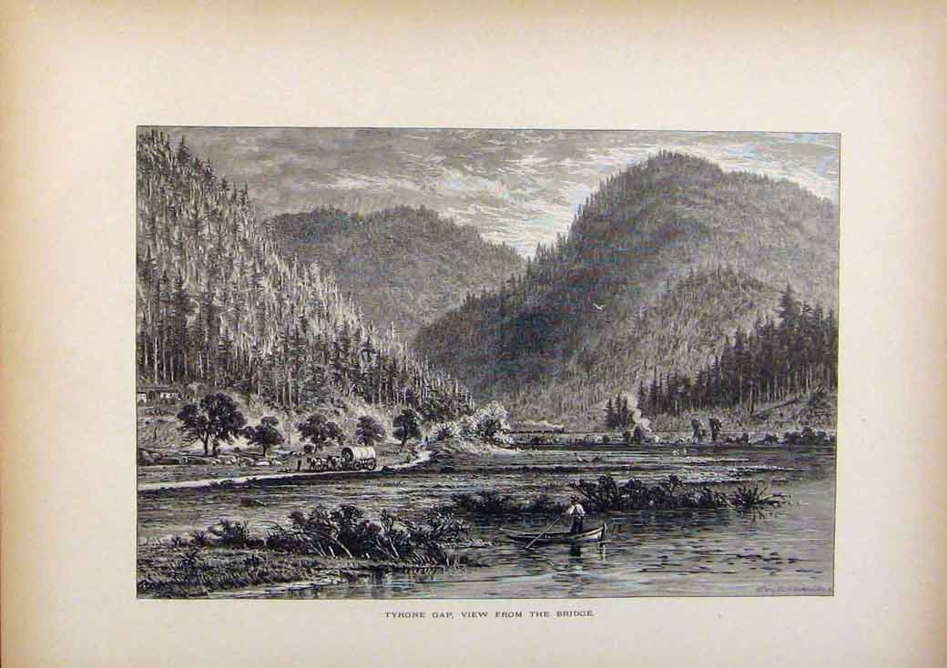 Print Picturesque America Tyrone Gap View From Bridge C1883 908961 Old Original