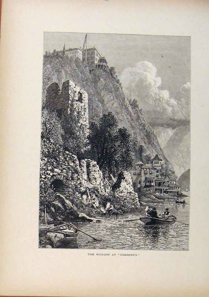 Print Picturesque America Hudson At Cozzens'S Wood Engraving 938961 Old Original