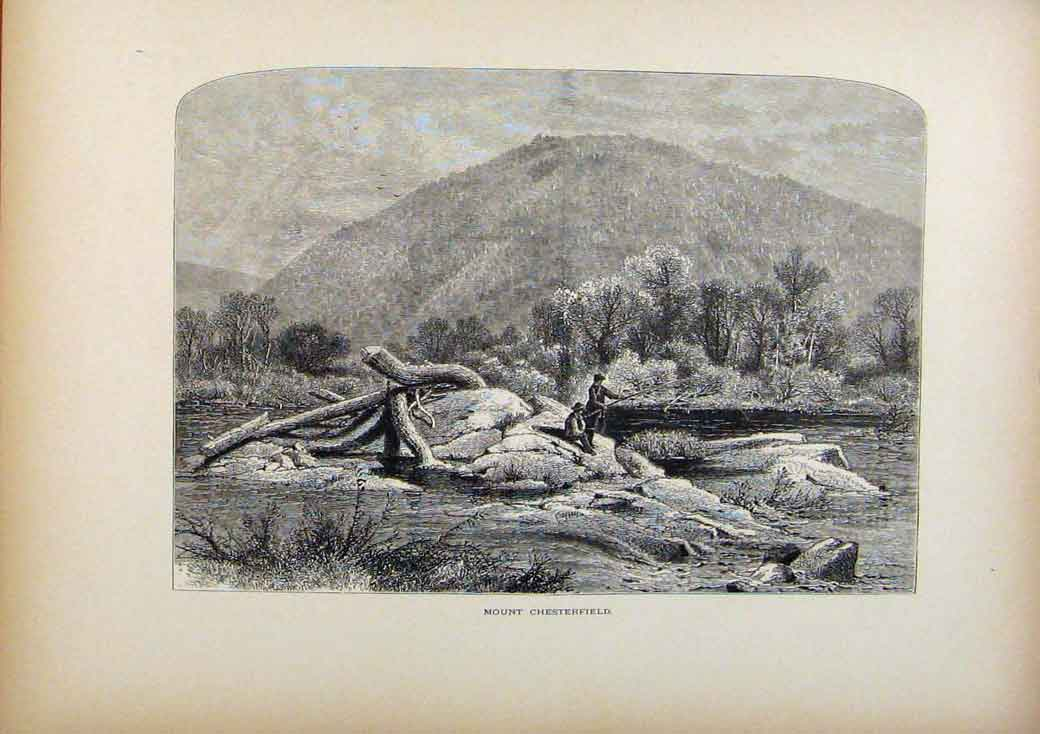 Print Picturesque America Mount Chesterfield Wood Engraving 978961 Old Original