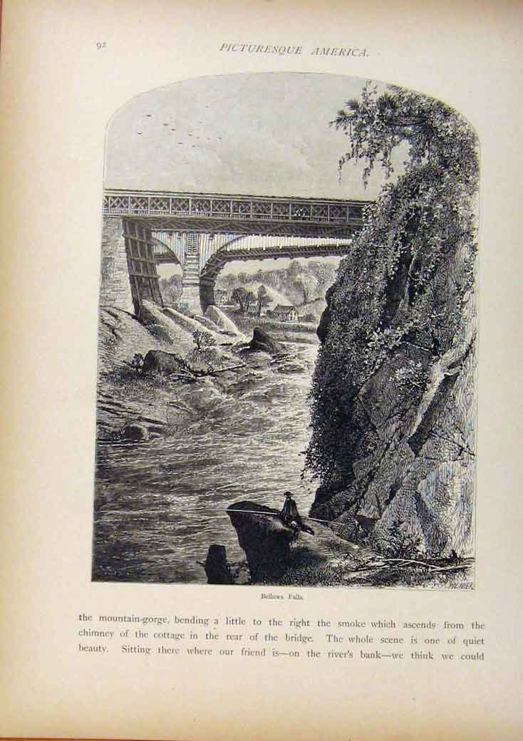 Print Picturesque America Bellows Falls Wood Engraving C1883 998961 Old Original