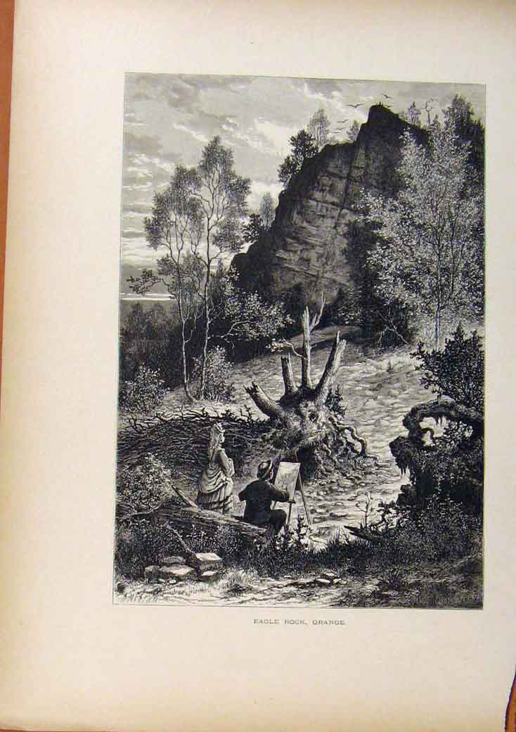Print Picturesque America Eagle Rock Orange Wood Engraving 058961 Old Original