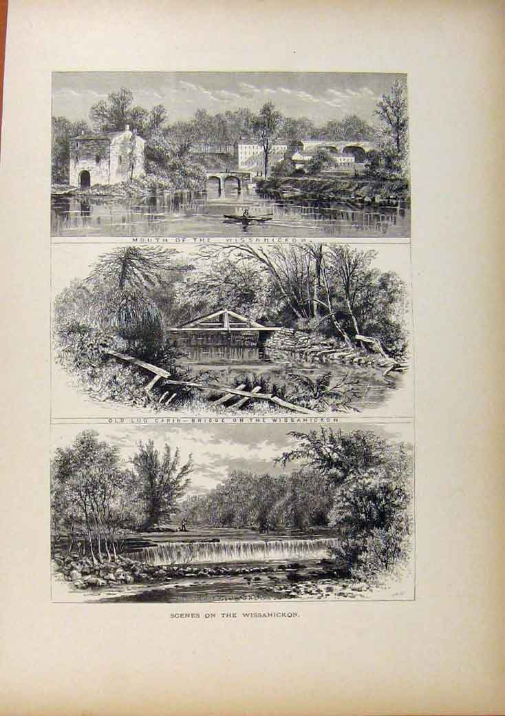 Print Picturesque America Sceness On The Wissahickon 068961 Old Original