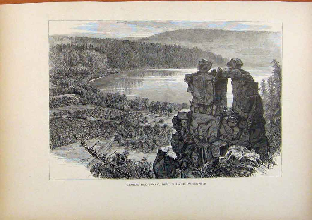 Print Picturesque America Devils Doorway Devils Lake Wisonsin 128961 Old Original
