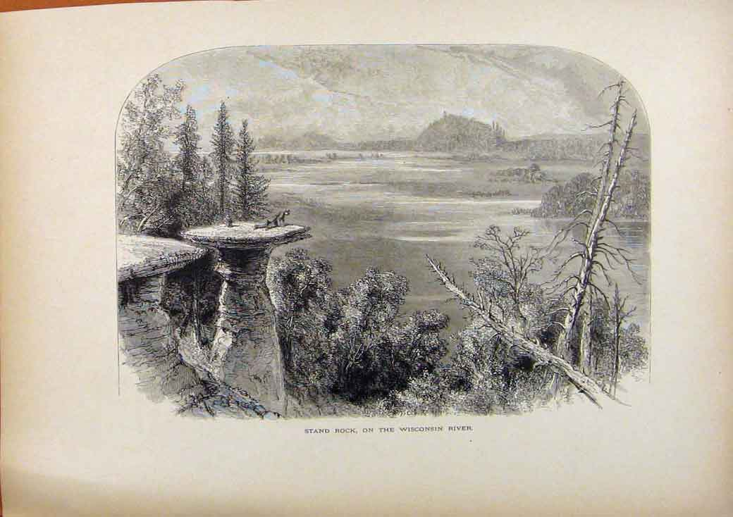 Print Picturesque America Stand Rock On The Wisconsin River 138961 Old Original