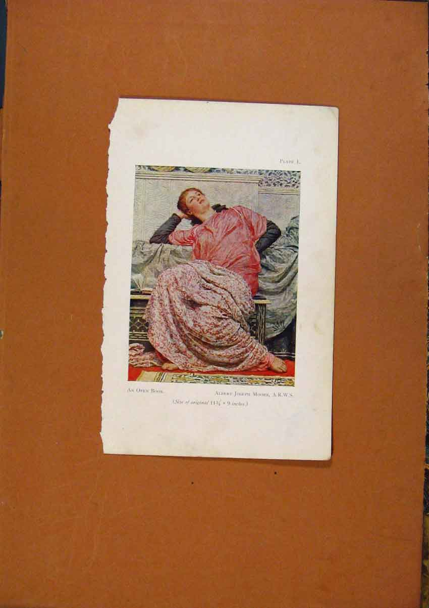 Print Open Book Lady Posing Color Art 108971 Old Original