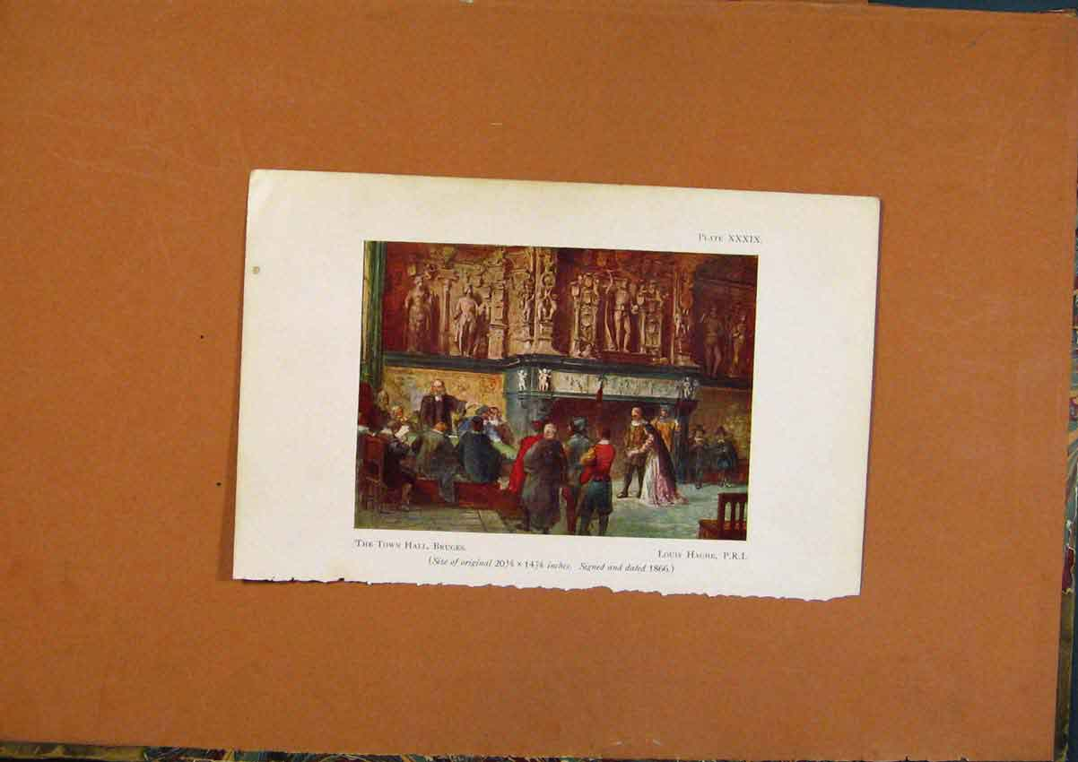 Print Town Hall Bruges By Louis Hache Color 218971 Old Original