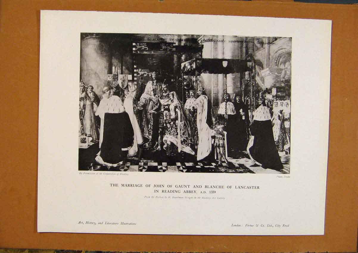 Print Art History Marriage John Caunt & Clanche Lancaster 098971 Old Original