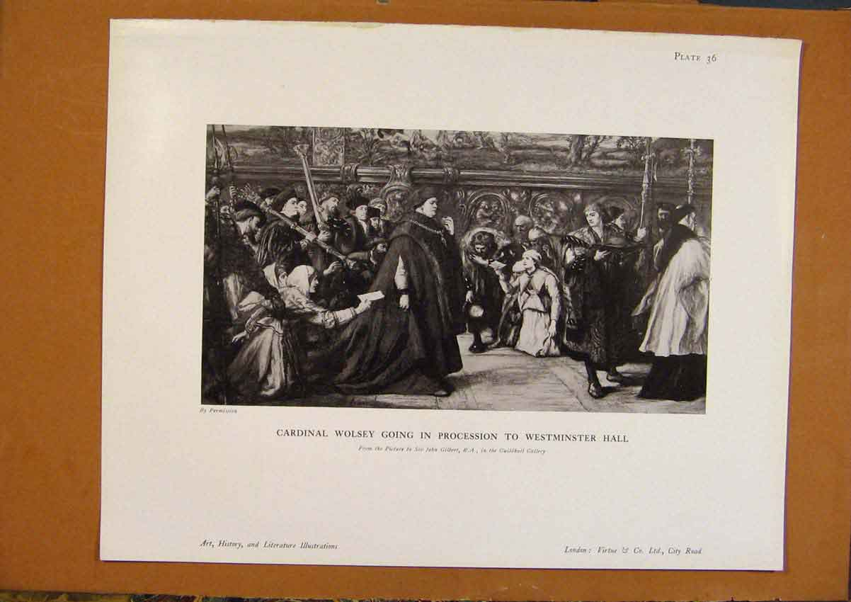 Print Art History Cardinal Wolsey Procession Westminster 178971 Old Original