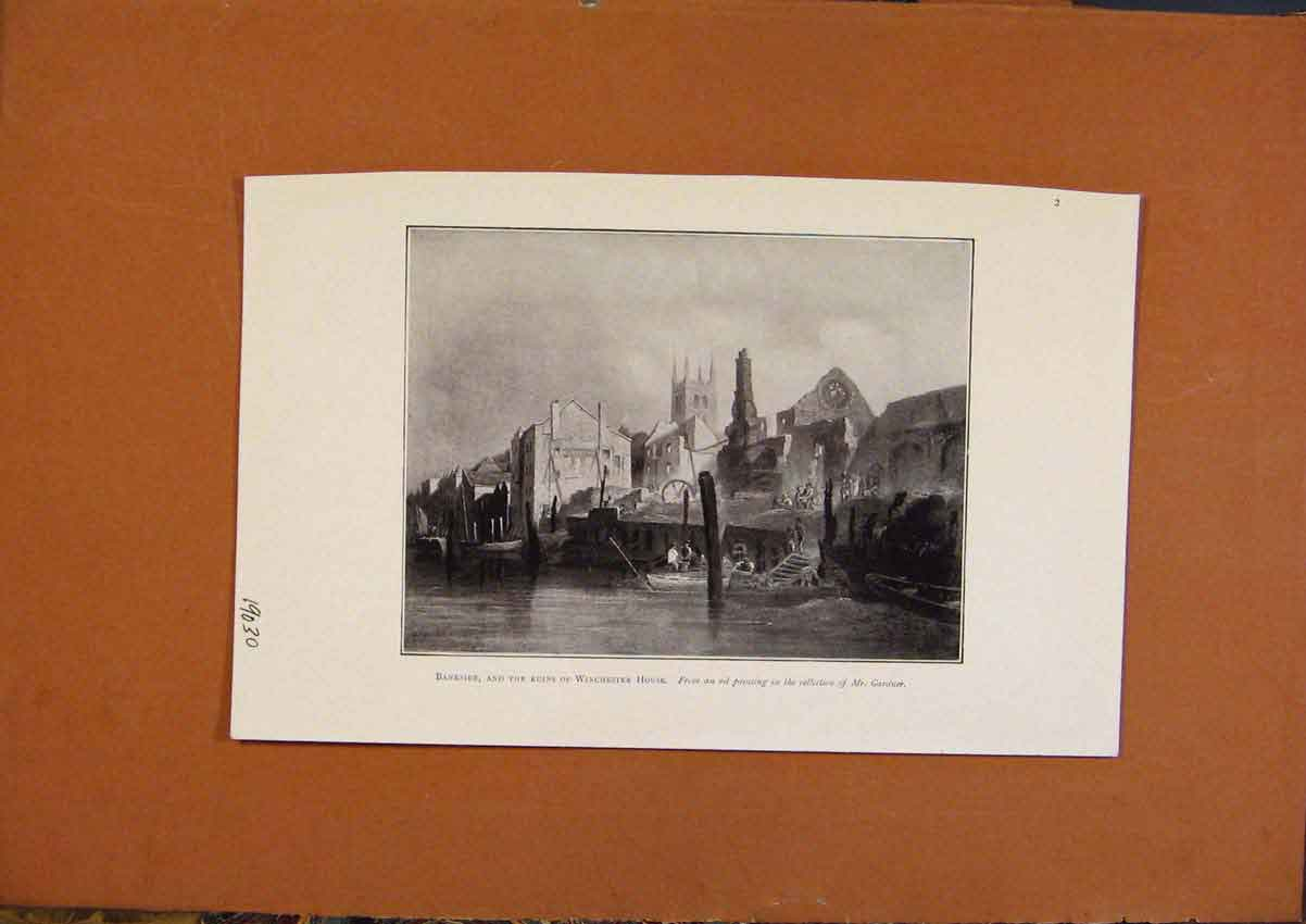 Print Bankside Ruins Winchester House 538971 Old Original