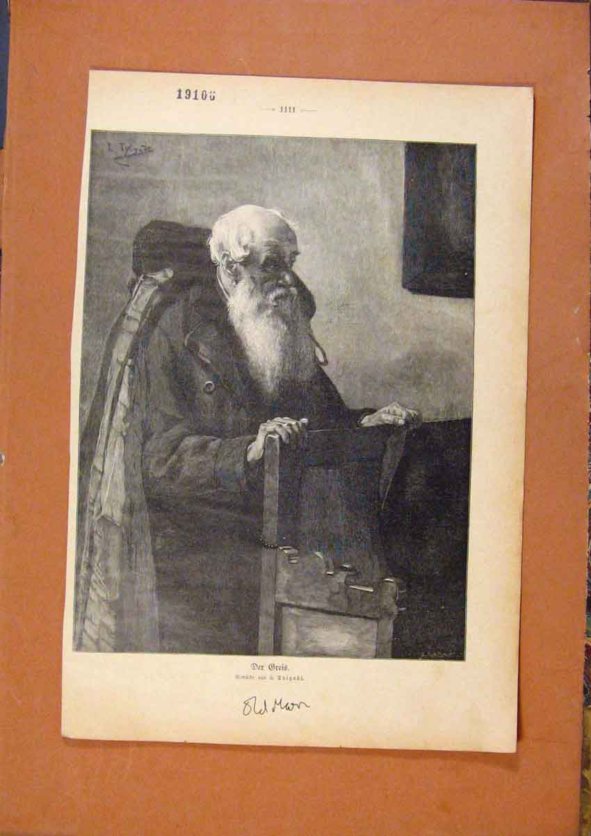 Print Man In Church Priest C1901 698971 Old Original