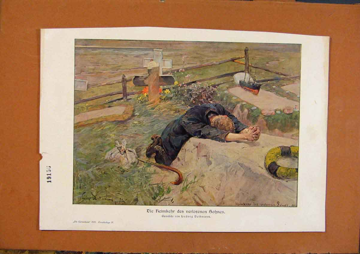 Print Young Man Next To Grave Color Art 728971 Old Original