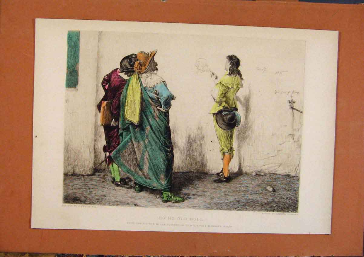 Print C1880-1924 Hand Colored Ho Ho Hnoll 048981 Old Original