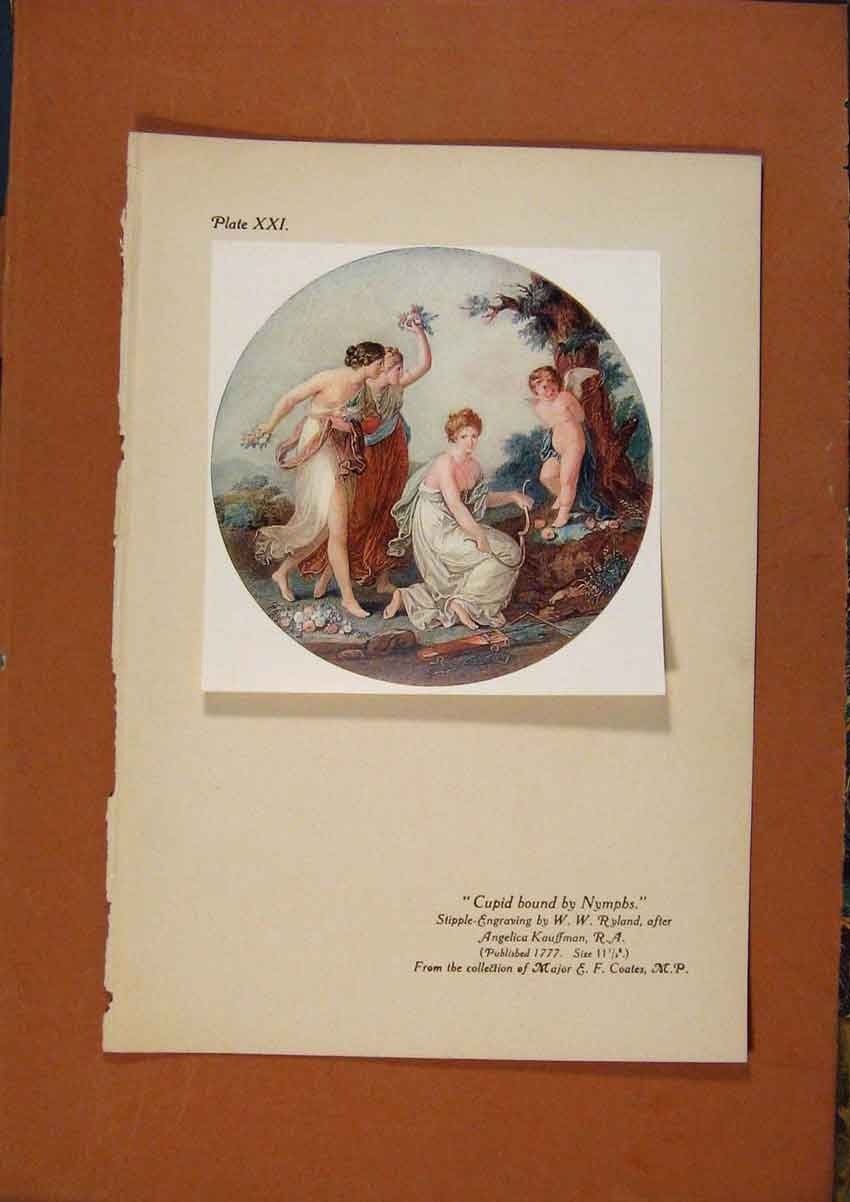 Print C1880-1924 Cupid Bound By Numphs Color 138981 Old Original