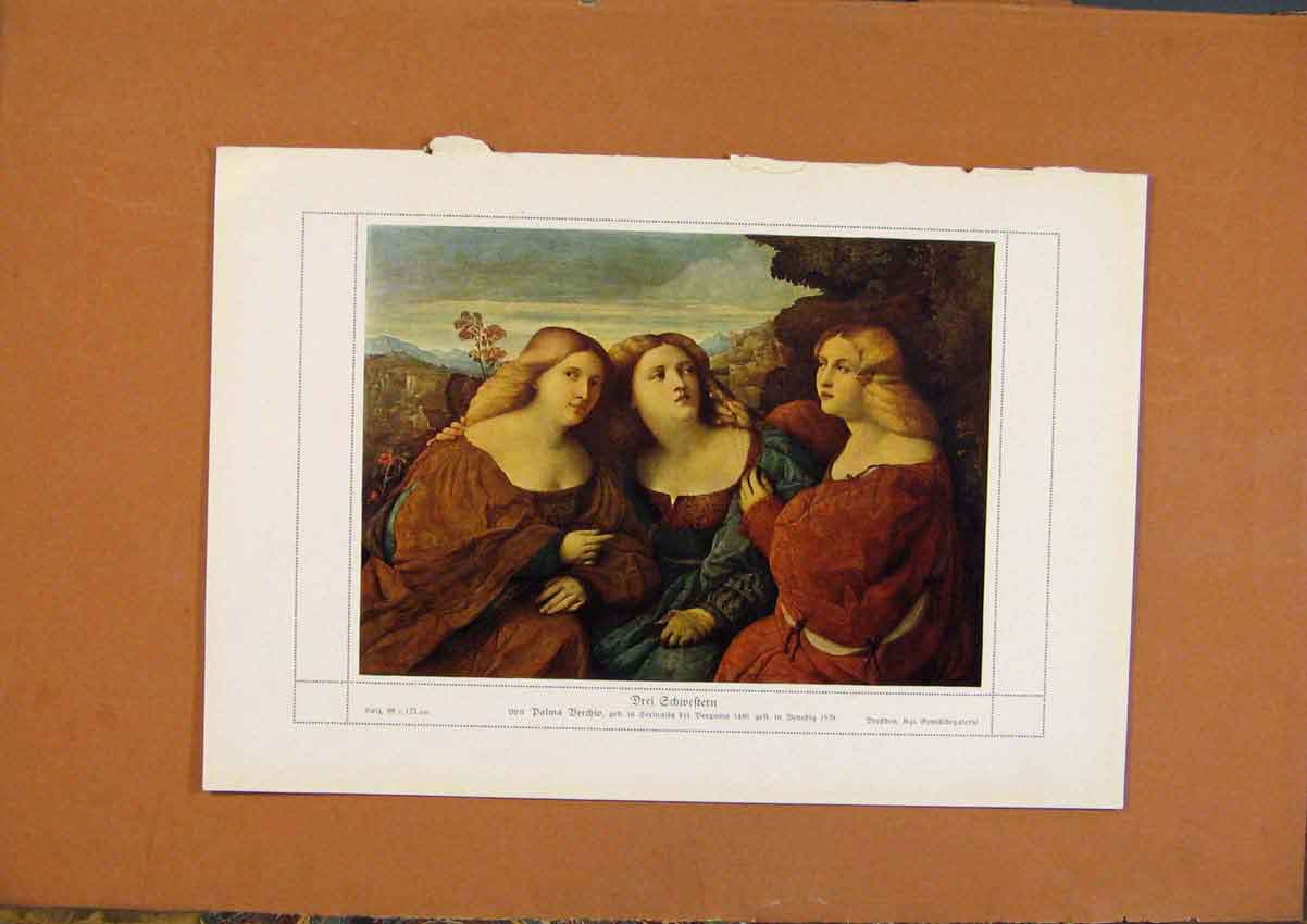 Print German Art Drei Echweftern Color C1902 178981 Old Original