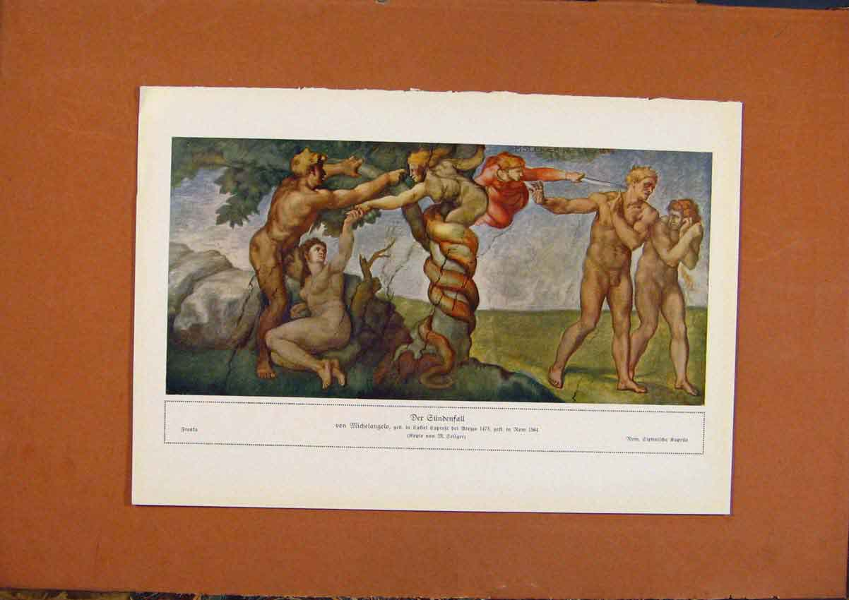 Print German Art Der Gundenfall Color C1902 208981 Old Original