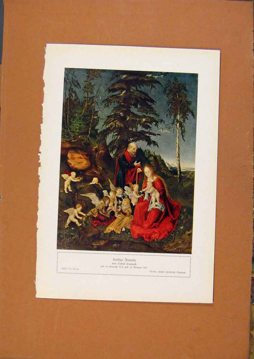 Print German Art Whole Family Color C1902 628981 Old Original