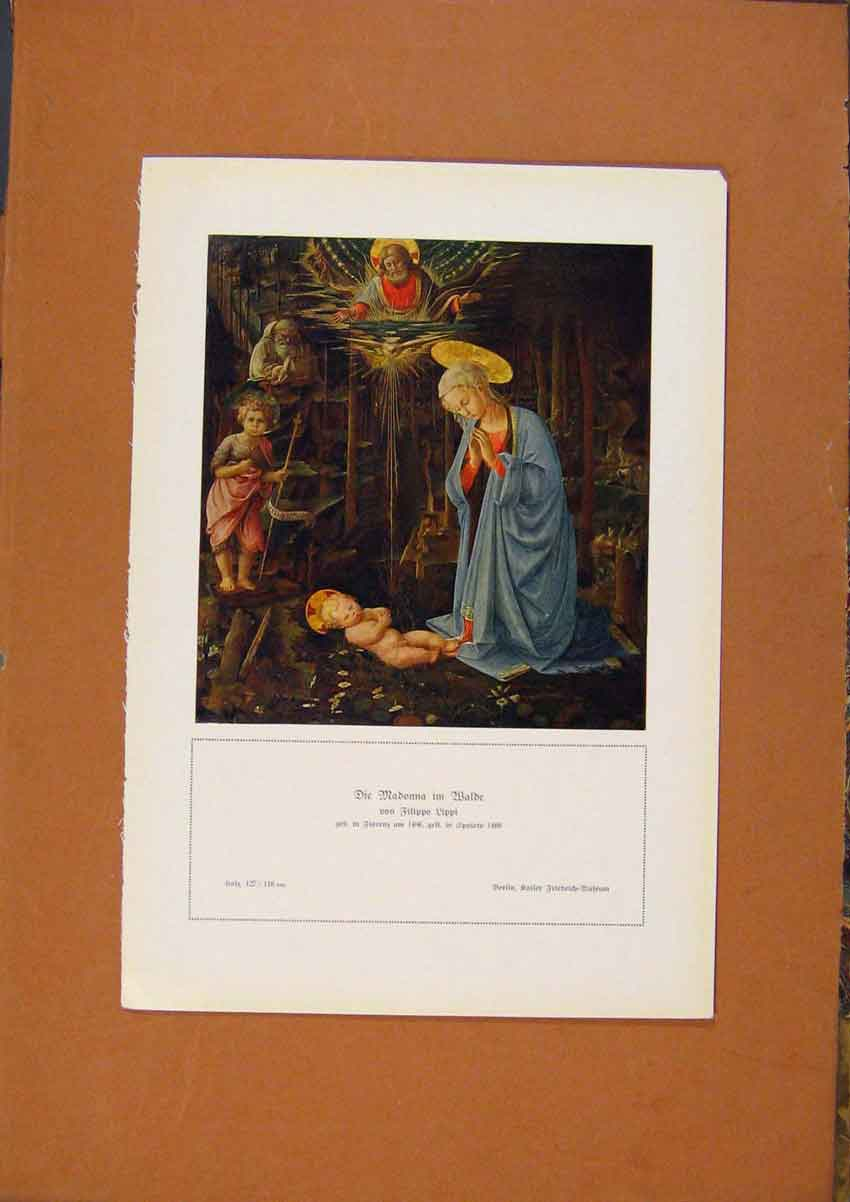 Print German Art Madonna By Filippo Lippi C190 668981 Old Original