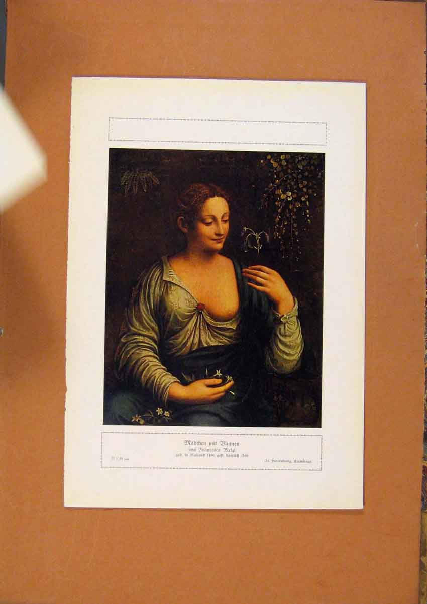 Print German Art Francesco Melzi Lady Portrait Color 688981 Old Original