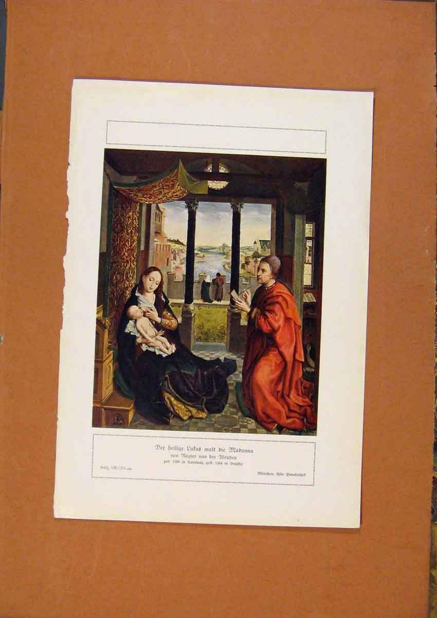 Print German Art Lutas With Madonna Rogier Van Der Wenden 738981 Old Original