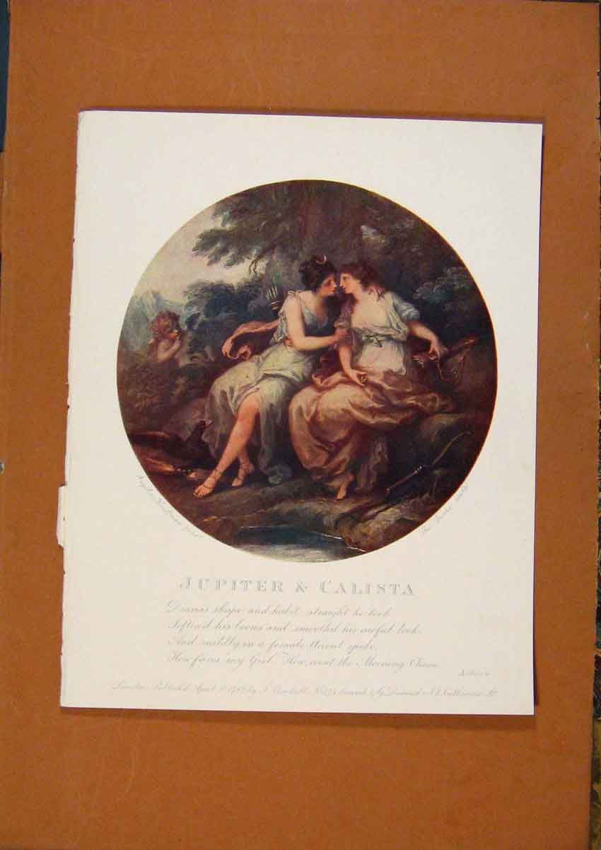 [Old Antique Print The Connoisseur Jupiter & Calista Color 798981 ]