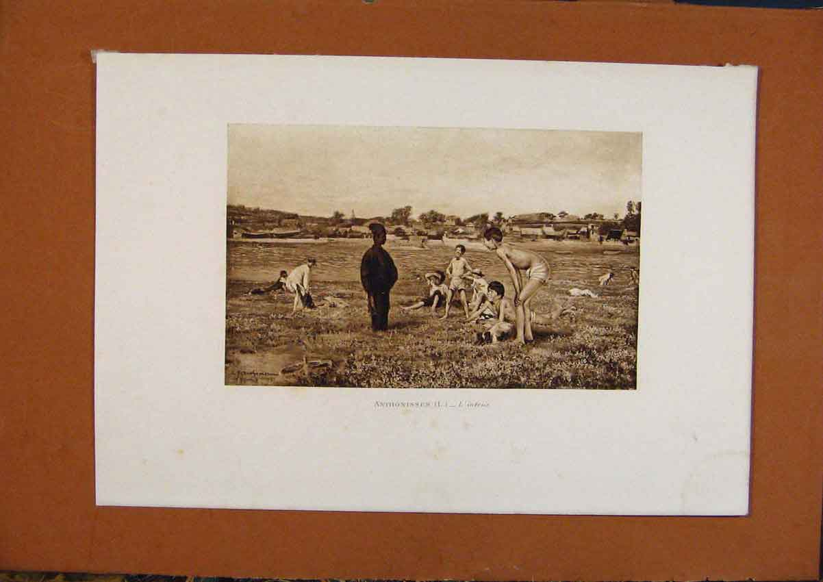 Print Salon 1888 Anthonissen L'Intrus Boys Playing Fine Art 028991 Old Original