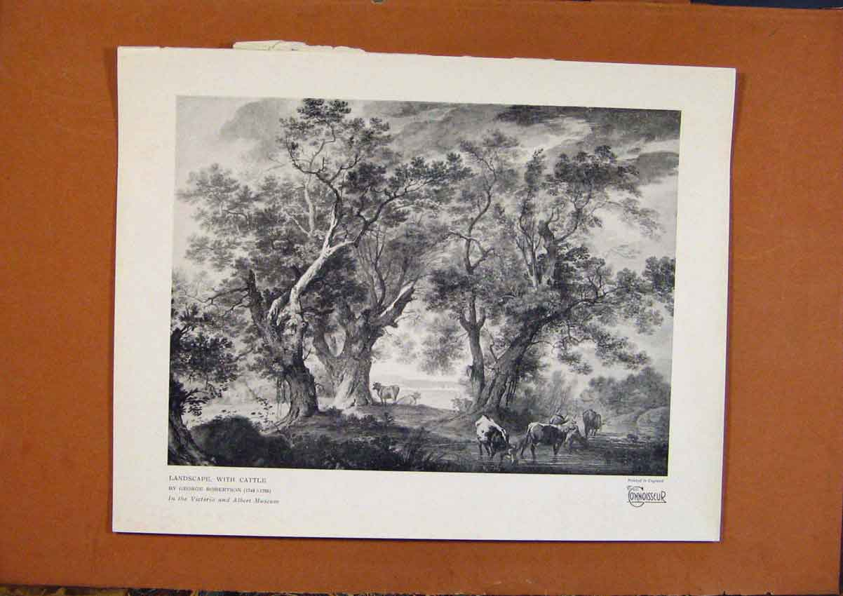 Print Connoisseur 1902-1909 Landscape With Castle Robertson 558991 Old Original