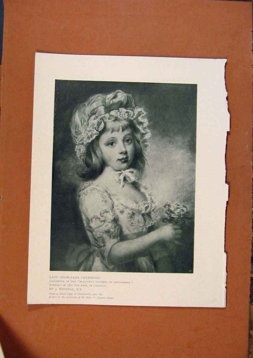 Print Connoisseur 1902-1909 Lady Georgiana Cavendish Russell 588991 Old Original