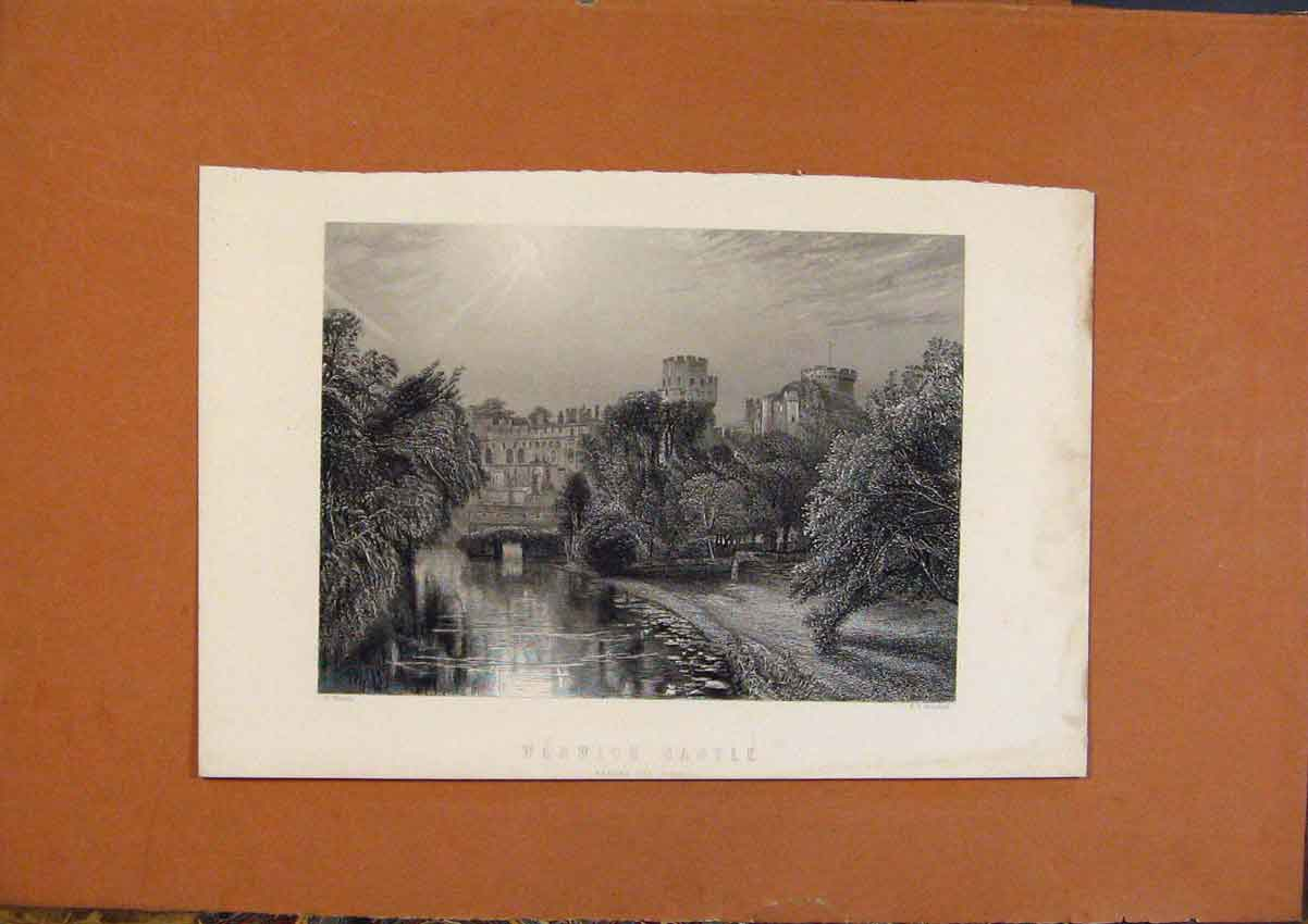 Print C1880 Warwick Castle England Before Fire 608991 Old Original