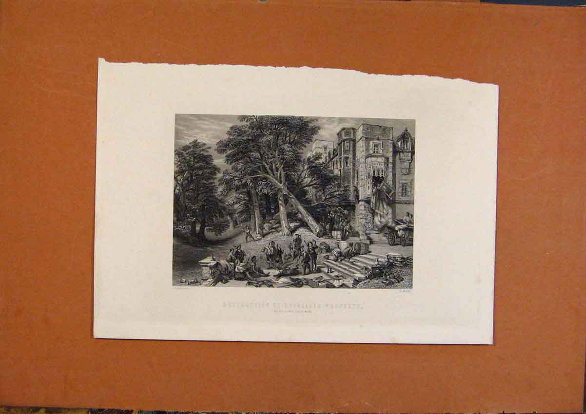 Print C1880 Destruction Royalists Property 658991 Old Original