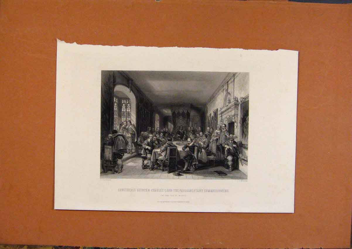 Print C1880 Conference Charles 1 Parliamentary 708991 Old Original